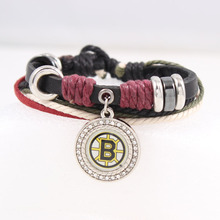 Black Genuine Leather Bracelet With Ice Hockey Boston Bruins Charms Adjustable Fashion Women & Men Bracelets Sport Fans Jewelry(China)