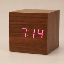 2 x AAA/ USB Powered Mini Wooden Clock LED Digital Desktop Alarm Clock TH88  E2shopping