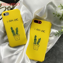 Fashion simple literature green leaf Mobile Phone Case For iphone 7 6S 6 Plus case small fresh PC material For iphone 76S6 Cover(China)