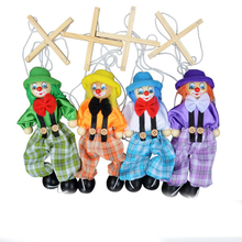1 Pc Children Cute Marionette Kids Classic Funny Wooden Clown Pull String Puppet Vintage Joint Activity Doll Toys Random Color