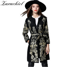 Zarachiel New 2017 Winter Women Runway Luxury Gorgeous Embroidery Heavy Gold Floral Wool Coat Belt Lady V-Neck Cashmere Overcoat