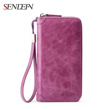 Sendefn Wallet Female Genuine Leather Women Wallet Ladies Purse Wallet Women Card Holder Purse Leather Wallet Clutch Slim Purse