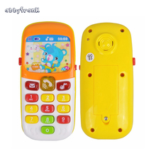 Abbyfrank Electronic Toy Phone Musical Mini Cute Children Toy Early Education Cartoon Mobile Phone Telephone Cellphone Baby Toys(China)