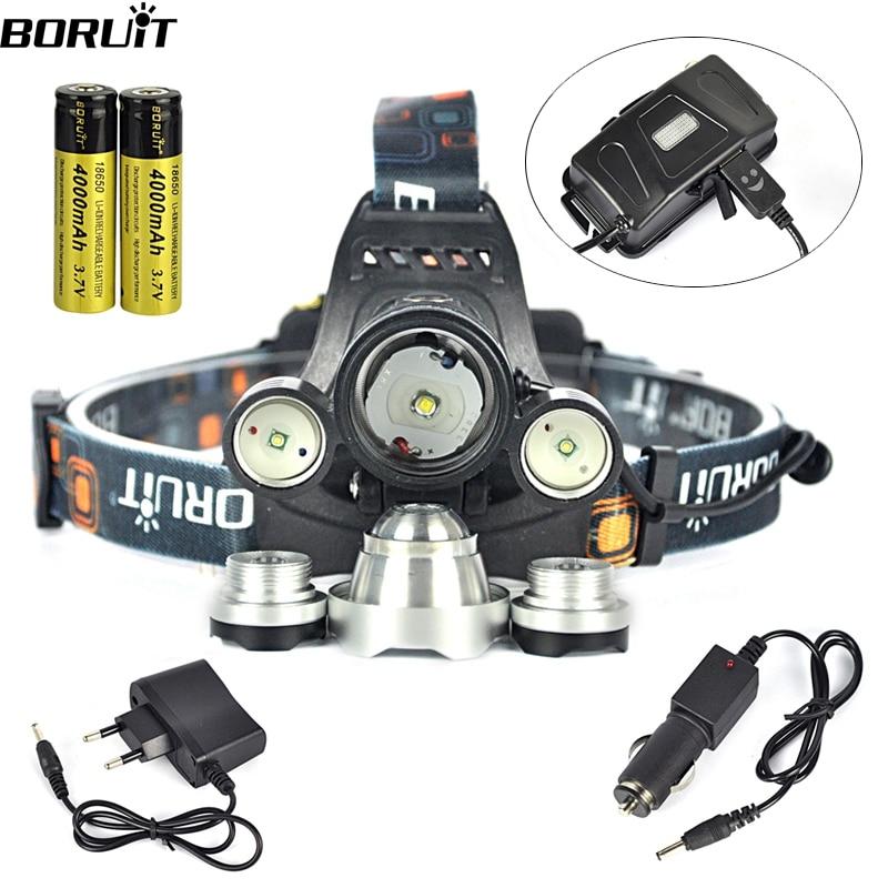 Boruit RJ-5000 Headlamp XML T6 8000 Lumens 4 Mode LED Headlight Led USB Power bank Rechargeable Hunting Head Light 18650 Charger<br><br>Aliexpress