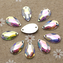 10.5*18mm 200pcs Waterdrop Crystal AB Color Silver Base acrylic Sew On Rhinestone Sew On Stones  buttons for Garment Jewelry