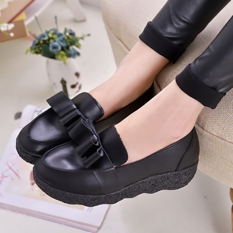 AD AcolorDay 2017 Hot Sale Spring Summer Bowtie Female Shoes White Mother Leather Slip on Women Casual Shoes Platform Shoes<br><br>Aliexpress