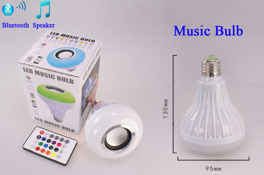 220V E27 12W rgb led lamp Smart RGBW Wireless Bluetooth Speaker Bulb Music Playing Dimmable LED Bulb Light changeable light bulb (4)