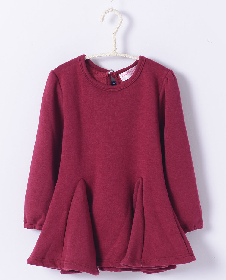 On sale kids trends 2016 fashion cotton black wine red grey dress girls clothes long sleeve dress girl<br><br>Aliexpress