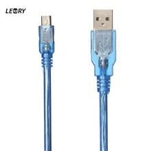 Leory USB 2.0 To Mini USB Cable 1FT/30CM Male To Male Data Sync Charger Cable For MP3 MP4 Camera Mobile Cell Phone Clear Blue