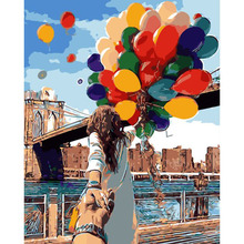 Framed Colorful Balloon Lover DIY Painting By Numbers Wall Art Home Decor Modern Picture Unique For Wedding Decoration 40*50cm