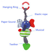 Hot 23CM Baby Rattles Wholesale Infant Kids Music Elephant Hanging Hand Bed Stroller Soft Dolls Educational Toys Teether Rattles(China)