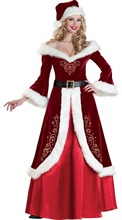 Women Luxury Christmas Queen Dress Princess Santa Costume Sexy Long Sleeve Warm Robe Miss Santa Cosplay Dress Halloween Costume