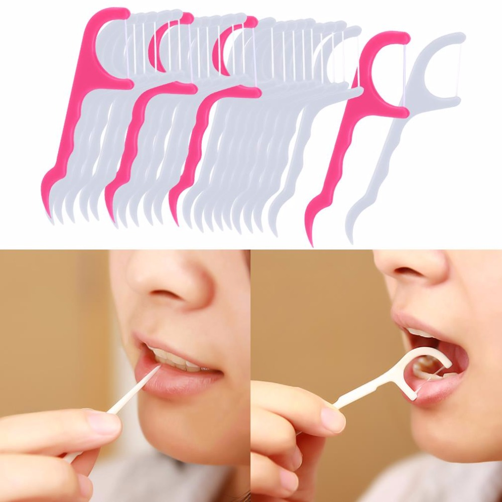 25pcs-1-pack-New-2-in-1-Dental-Floss-Pick-Tooth-Care-Thread-Peeling-Stick-Oral