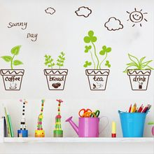Cartoon Wall sticker Small Flowers And Potted Plants Indoor Decorative Glass Door Window Stickers(China)