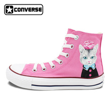 Hand Painted Canvas Shoes Pink Athletic Sneakers Designer Style Pet Cat Wearing Clothes Brand Converse Chuck Taylor(China)