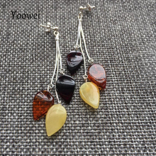 Yoowei Natural Amber Earrings Certificated Authenticity Dangling Earrings Leaf Shape Amber Tassel Jewelry for Women Girls Gifts(China)