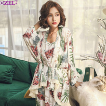 Sleep Lounge Tracksuit Nightwear Pajama-Sets Flower Sexy Autumn Cotton Plus-Size 3piece-Set