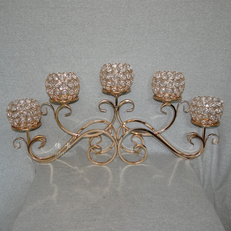 gold wedding candelabra 5 crystal balls candle holder 32cm tall by 70cm width table centerpiece wedding