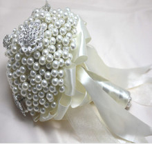 18cm Pearl Bridal Bouquet Flower Ideas Wedding Dancing Beach Decor White F1474(China)