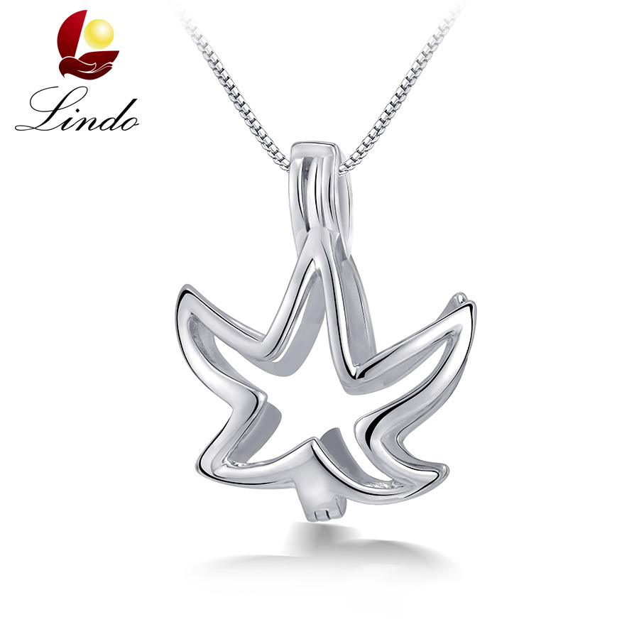 Top Quality 100% Real 925 Sterling Silver Leaf Cage Pendants For Pearls Fashion Women Wholesale Jewelry Lot/3PCS Without Pearl