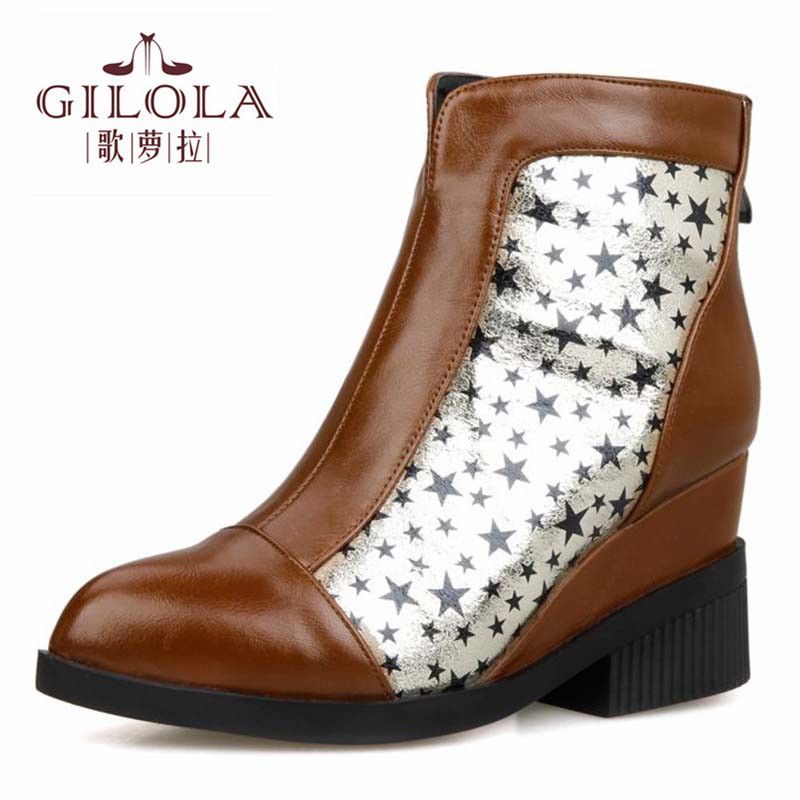 2016 new snow fashion ankle star printing high heels women boots autumn boots winter womens shoes woman fashion #Y3220921F<br><br>Aliexpress