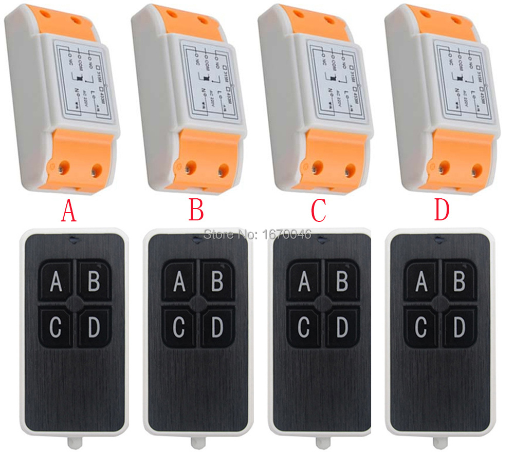 New AC220V 1CH 10A wireless remote control switch system 4X Transmitter + 4X Receiver relay smart house z-wave<br>