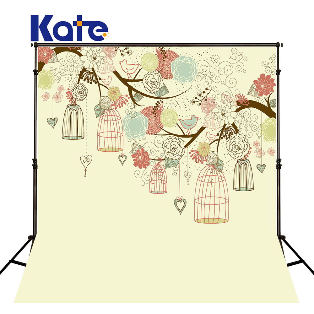 Kate Newborn Photography Background Tree And Birdcage Backdrops Children Photo Background Customize Seamless Photo For Studio <br>