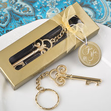 FREE SHIPPING by DHL,FEDEX,UPS(50pcs/Lot)+Golden Key To My Heart Collection Gold Metal Key Chain Ring Bottle Opener Favors(China)