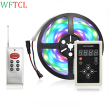 WFTCL 5m/roll 1903 IC 5050 SMD 30leds/m RGB LED pixels strip addressable Digital Light IP67 Waterproof + RF Remote Controller(China)