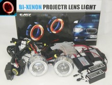 "2x 2.8"" 55W 6000K Motorcycle Headlight Headlamp Head Lamp HID Bi-Xenon Projector Lens Light Kit CCFL Halo Angel Devil Eye Red"