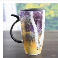 Creative personality trend of the new four seasons oil painting ceramic mug with lid coffee cup  milk cup couple