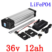High quality Electric Bike battery 36V 12AH LiFePO4 battery silver fish with 2A charger 36V LFP lifepo4 Battery bottom discharge(China)