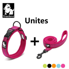 Truelove Easy On Pet Dog Collar And Leash Set Nylon Adjustabele Collar Dog Training Leash Reflective Pet Supplies Dropshipping(China)