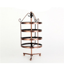 144 Holes 4 Layers Earring Bracelet Necklace Display Jewelry Holder Show Rack Hanger Rotate Jewelry Rack Gifts For Women Bronze(China)