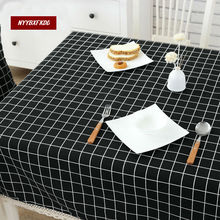 Now tablecloth lattice white gray black tablecloth lace edge meal meal cotton linen tablecloth high quality home decoration