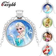 Caxybb brand Ladies The Long Chain Jewelry Necklace Crystal Cabochon Princess Elsa Anna Snow Queen Pendant Necklace For Girls