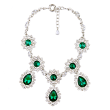 Gorgeous Antique Silver Color Jewelry Shiny Big Waterdrop Green Necklace Statement Female Crystal Party Necklace Hot Sale