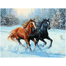 snow two horse square rhinestone Diamond Embroidery 3d Diy Diamond Painting Handicraft Inlay Mosaic cross stitch crafts GT572(China)