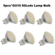 6pcs/lot GU10 5W 60 SMD 3528 LED Spot Light Lamp Bulb AC 12V 220V for Home Lighting(China)