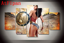 AtFipan HD Printed Modular Wall Paintings Wonder Woman Comics Poster Hot Sale Modern Painting on Canvas Pictures For Living Room(China)