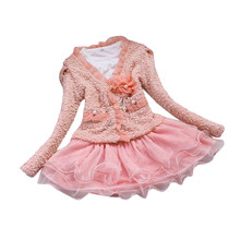 Girl Dress Kids Clothes 2017 Brand Autumn Princess Dress Baby Infant Girl Suit Winter Coat + Splice Long Sleeve Dress Set(China)