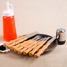 wooden handle outdoor barbecue tool set/Simple knife fork condiment bottles combination