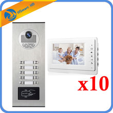 "7"" Video Intercom Doorbell 10 Units Intercom Kits Apartment Wired Video Door Phone RFID HID Card Audio Visual Intercom System(China)"