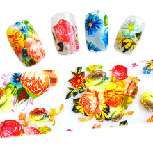 100cmx4cm Beauty Flowers Nail Art Transfer Foils Polish Stickers Adhesive Decals Manicure Wraps for Tips Decoration SASTZXK48