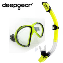 DEEPGEAR clear silicone dive mask Tempered glass scuba mask Two windows snorkel mask Full dry snorkel set Top diving equipment