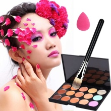 Professional 15 Color Concealer Palette Makeup Brush Cute Pink Sponge Puff Set Make up Contour Pallete Face Concealer Kit(China)