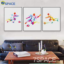 7-Space Original Watercolor Football Skiing Dance Modern Art Print Poster Wall Picture Canvas Painting Boy Kids Room Home Decor