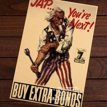 JAP IS THE NEXT BUY WAR BONDS Classic WW2 Vintage Poster propaganda Retro Decorative Wall Stickers Posters Bar Home Decor Gift(China)