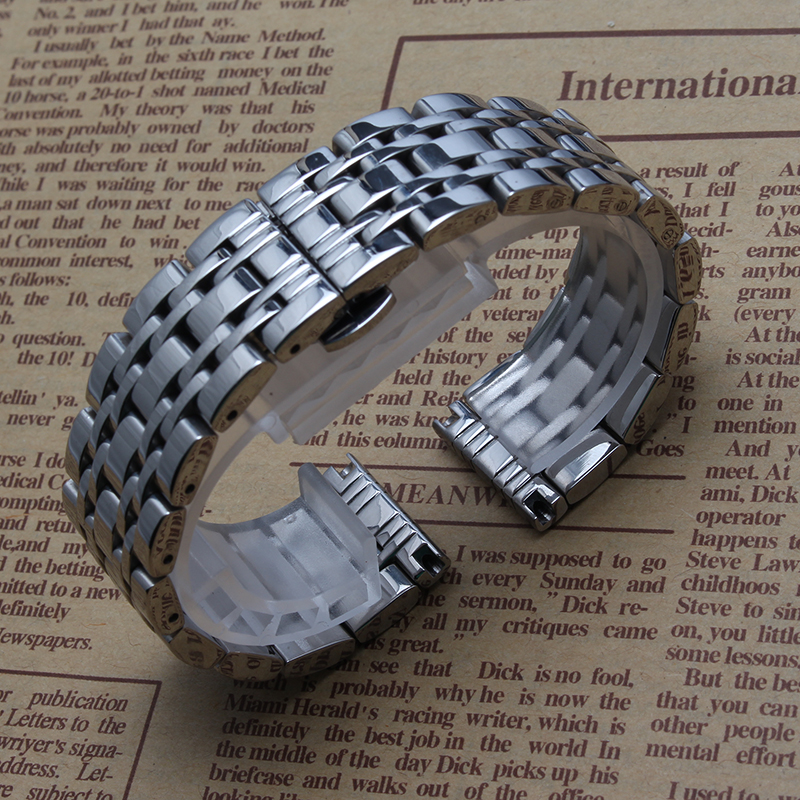 Polished Stainless steel Bright Watchband Bracelets Butterfly Buckle 14mm 16mm 18mm 20mm 22mm 24mm Silver For Brand wristwatches<br><br>Aliexpress