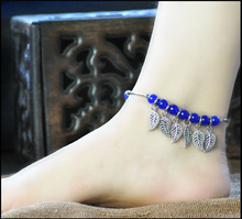 SHUANGR Hot Sliver Color Chain Anklet Bracelet Blue Beads Bell Ball Foot Jewelry Barefoot Beach Anklet For Women(China)